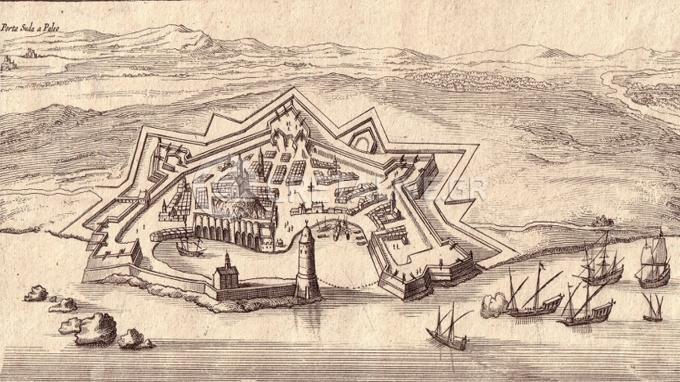 Σπάνιο σχέδιο του Jan Peeters που δείχνει την πόλη των Χανίων. Εκδόθηκε το 1664