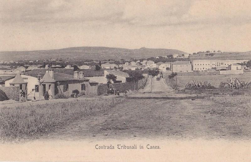 1910 Η σημερινή οδός Ι. Σφακιανάκη. Αριστερά μάλλον είναι η πλαινή είσοδος στον Ιταλικό στρατώνα.