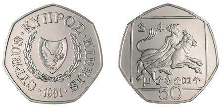 Κυπριακό νόμισμα 50 λεπτών, προ ευρώ, που απεικονίζει την Ευρώπη