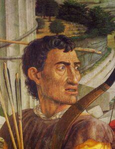 Archer. Detail from Mantegna, St. Sebastian. Louvre. ca. 1475.