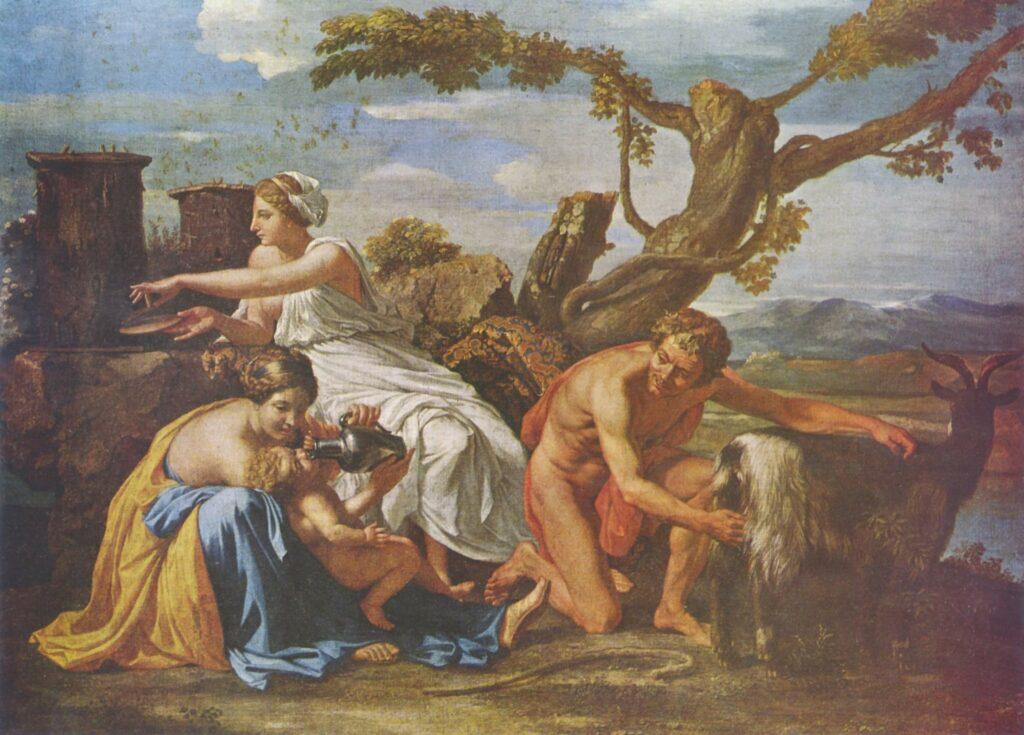 Ο Δίας ανατρέφεται από τις Νύμφες, την κατσίκα Αμάλθεια και προστατεύεται από τους Κουρήτες (Nicolas Poussin, 1640)
