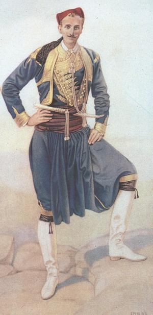 Λιθογραφία από υδατογραφία του N.C. Sperling που απεικονίζει άνδρα ντυμένο με χρυσοποίκιλτη ενδυμασία (Μ. Μπενάκη)