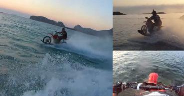 Σερφ με μοτοσυκλέτα μέσα στη θάλασσα… στα Φαλάσαρνα (video)