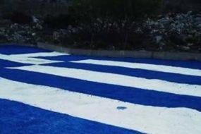 Οι Σφακιανοί ζωγράφισαν μία πελώρια Ελληνική σημαία 600 τ.μ.