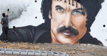Ο Νίκος Ξυλούρης σε ένα εξαιρετικό γκράφιτι στα Ανώγεια της Κρήτης
