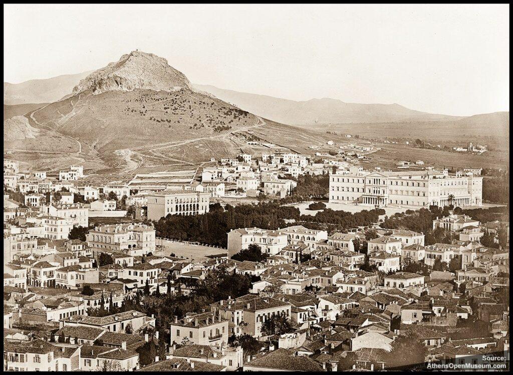 Άποψη των Αθηνών και ο λόφος του Λυκαβηττού γύρω στα 1860.