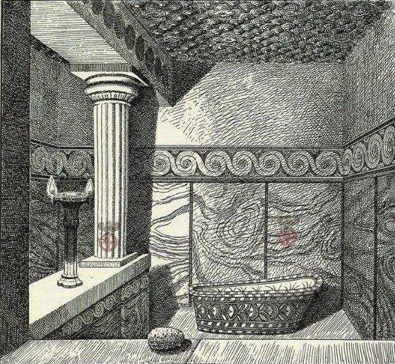 Λουτρό  στο παλάτι της Κνωσού σε αναπαράσταση από τις ανασκαφές του Έβανς Φωτιζόταν με μεγάλες λυχνίες και όπως βλέπουμε ήταν πολυτελέστατο.(Evans 1930)